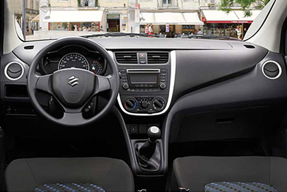 rent a car heraklion airport price quote Suzuki Celerio inside car